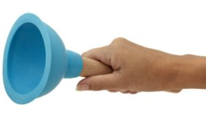 Hand holding toilet plunger